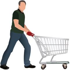 uomo spinge carrello spesa