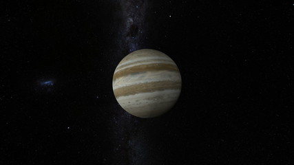 Planet Jupiter with Milky Way galaxy