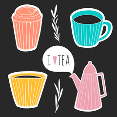 Set of  teatime stickers. Cute kitchen design