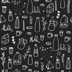 Doodle milk background. Hand drawn seamless pattern