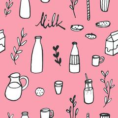 Hand drawn milk background. Doodle seamless kitchen pattern