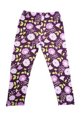 children's purple pants with floral pattern on white background
