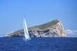 Sailing near islands in the Aegean Sea. Luxury yachts.