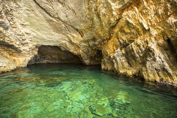 Inside Blue caves on Zakynthos island in Greece.