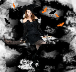 Halloween witch with broom on dark background