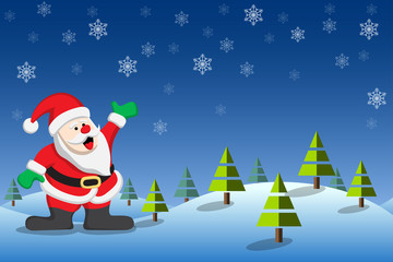 Christmas background with Santa Claus in winter landscape