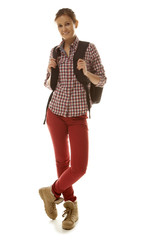 Female student in red jeans