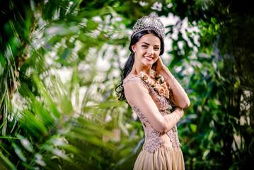 Elegant lady with tiara on a head