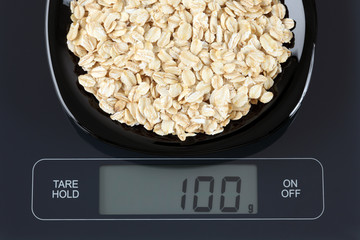 Oatmeal on kitchen scale