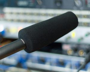 Close-up of audio gear in recording studio