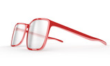 Red reading glasses on a white background