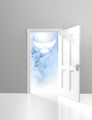 Spirituality and religion concept of an open door and white dove