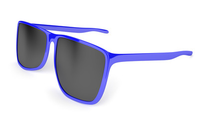 Stylish blue sunglasses with dark tinted lenses
