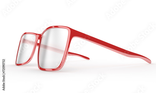 Red reading glasses on a white background - 72090752