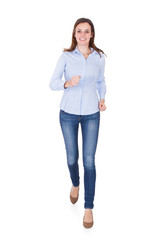 Woman In Smart Casuals Running Against White Background