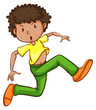 A simple drawing of a young man dancing