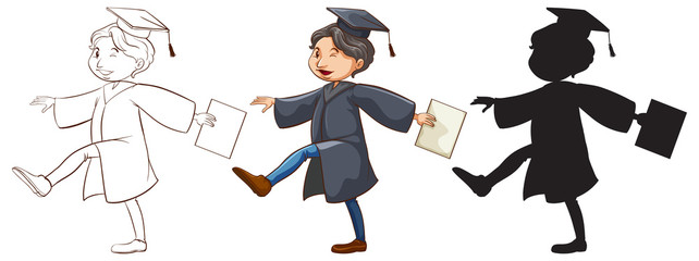 Three sketches of a boy graduating