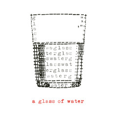 a glass of water in typewriter art