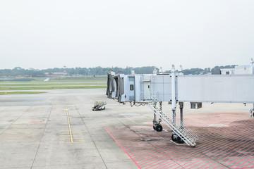 Jet bridge from an airport terminal gate at Singapore