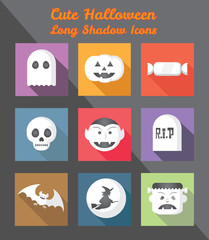 Holloween Long Shadow Square Icons