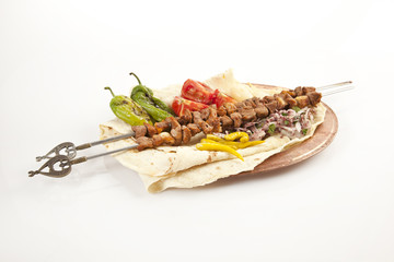 Turkish Sis Kebab isolated white background