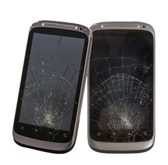 two cell phone with a broken screen