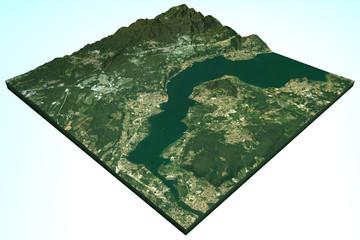Lago Maggiore vista satellitare, 3d rilievo, mappa, Italia