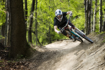 Mountainbiker riding on a path
