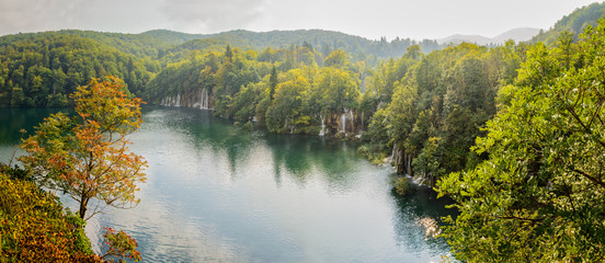 Panorama of waterfalls in Plitvice National Park, Croatia