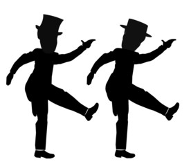 males in sync dancing with different hats