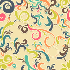 Abstract seamless background with curls in retro colors