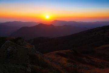 Mountain sunset autumn