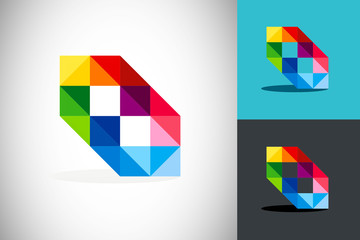 triangle colorful crystal geometry abstract logo