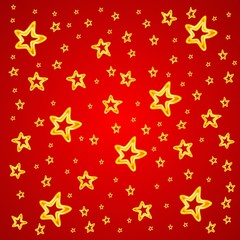 Abstract stars on a red background