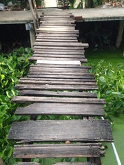 bridge wood to home in Thai home style