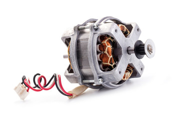 Small electric motor on white background