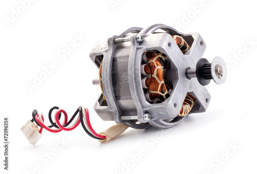 Leinwanddruck Bild Small electric motor on white background