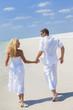 Man Woman Couple Holding Hands Running Beach