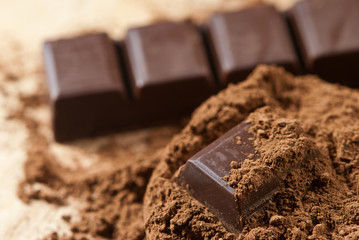 cocoa powder and pieces of dark chocolate