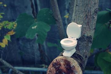 屋外の洋式トイレ