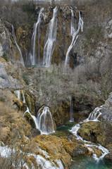 big waterfall on plitvice lakes
