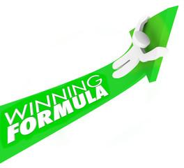 Winning Formula Man on Arrow Rising Upward Winning Competition