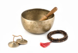 Singing Bowl with Ringing Stick, Prayer Beads and Bells.