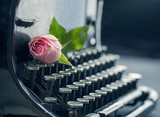 Old antique black vintage typewriter - 72098380