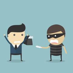 Money robbery concept