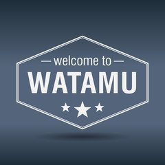 welcome to Watamu hexagonal white vintage label