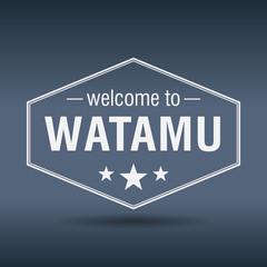 welcome to Watamu hexagonal white vintage label