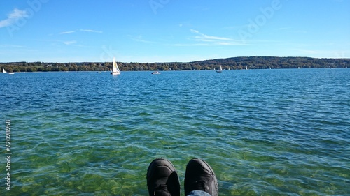 canvas print picture Entspannung am see