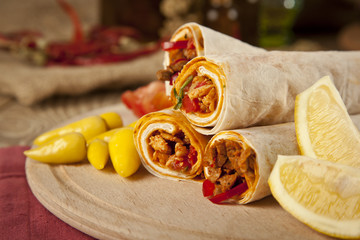 Meat beef tantuni is a kind of traditional turkish kebap