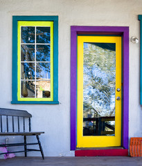 Colorful Door and Window in Madrid, NM